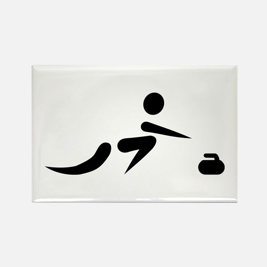 Curling player icon Rectangle Magnet