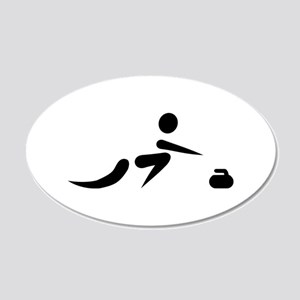 Curling player icon 20x12 Oval Wall Decal