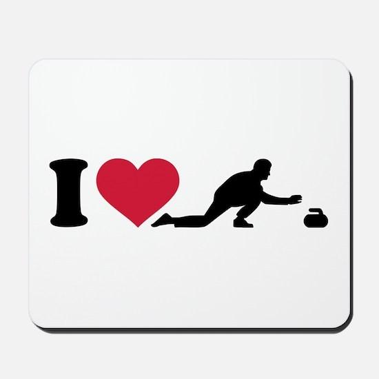 I love Curling player Mousepad