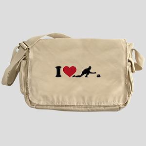 I love Curling player Messenger Bag