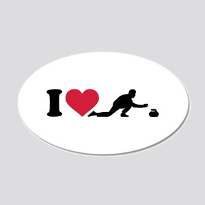 I love Curling player 20x12 Oval Wall Decal