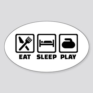 Eat Sleep Play Curling Sticker (Oval)