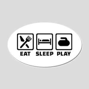 Eat Sleep Play Curling 20x12 Oval Wall Decal