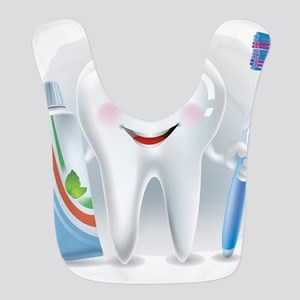 Cartoon cute tooth with toothpaste and toothbr Bib