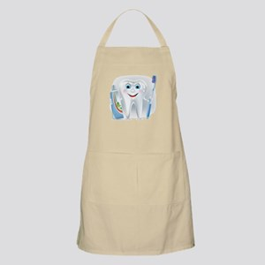 Cartoon cute tooth with toothpaste and tooth Apron