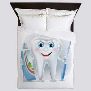 Cartoon cute tooth with toothpaste and Queen Duvet