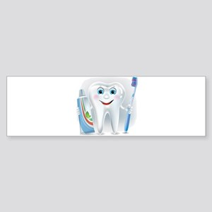 Cartoon cute tooth with toothpaste Bumper Sticker