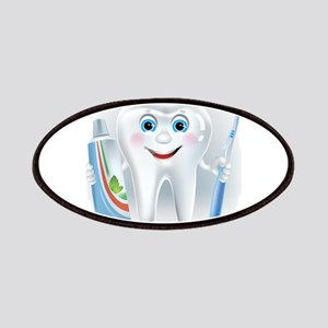 Cartoon cute tooth with toothpaste and tooth Patch