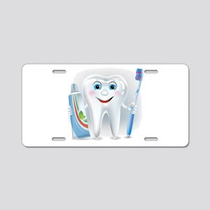 Cartoon cute tooth with too Aluminum License Plate