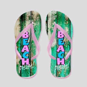 Beach Please! Beachside Wood Plank, Flip Flops