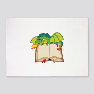 Cute cartoon dragon 5'x7'Area Rug