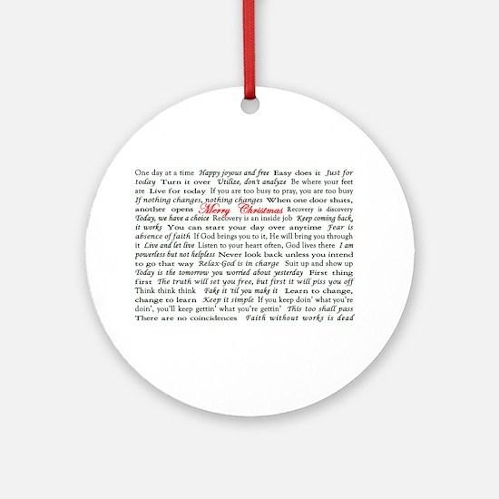 Merry Christmas Slogan Card Ornament (Round)
