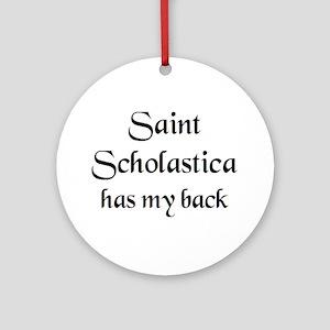 saint scholastica Round Ornament