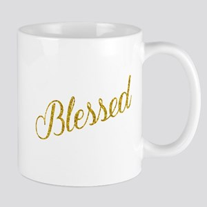 Blessed Gold Faux Foil Metallic Glitter Quote Mugs