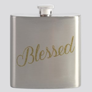 Blessed Gold Faux Foil Metallic Glitter Quot Flask