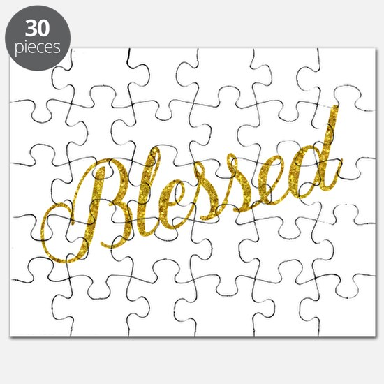 Blessed Gold Faux Foil Metallic Glitter Quo Puzzle
