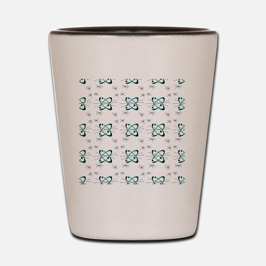 Atomic Lines White Shot Glass