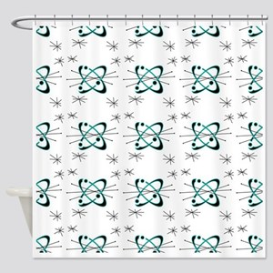 Atomic Lines White Shower Curtain