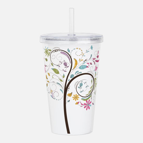 Abstract swirl floral Acrylic Double-wall Tumbler