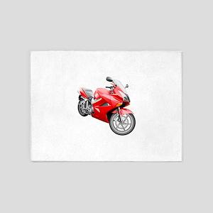 Red Heavy motorbike 5'x7'Area Rug