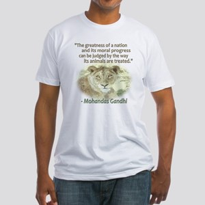 Gandhi Animal Quote ~ Fitted T-Shirt