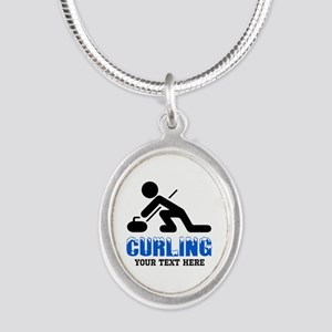 Curling Personalized Silver Oval Necklace