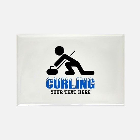 Curling Personalized Rectangle Magnet