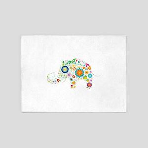 Cute elephant floral design 5'x7'Area Rug