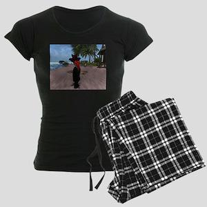 Lucierda Beach Posing Women's Dark Pajamas