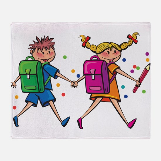 Kids going to school Throw Blanket