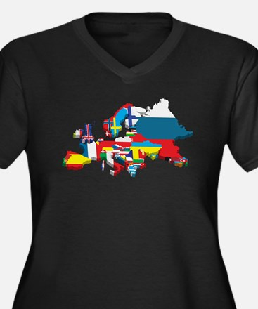 Flags map of Europe Plus Size T-Shirt