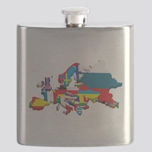 Flags map of Europe Flask