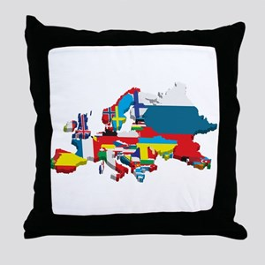 Flags map of Europe Throw Pillow