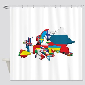 Flags map of Europe Shower Curtain