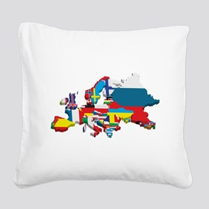 Flags map of Europe Square Canvas Pillow