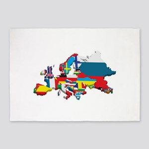 Flags map of Europe 5'x7'Area Rug