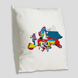 Flags map of Europe Burlap Throw Pillow