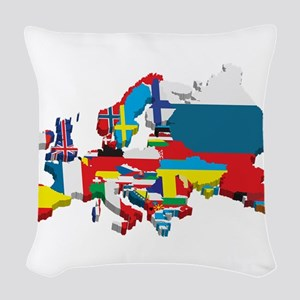 Flags map of Europe Woven Throw Pillow