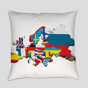 Flags map of Europe Everyday Pillow