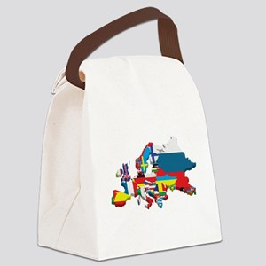 Flags map of Europe Canvas Lunch Bag