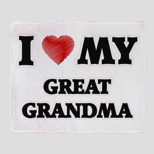 I Love My Great Grandma Throw Blanket