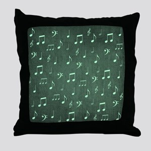 music notes and sign into a modern tr Throw Pillow