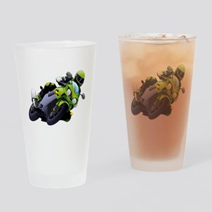 Motorcycle racer sliding Drinking Glass