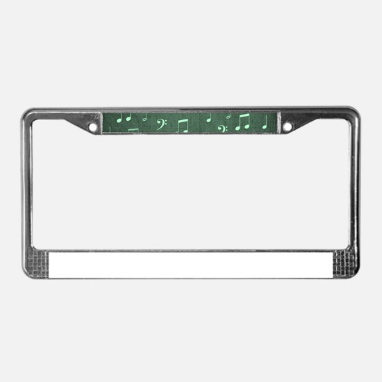 music notes and sign into a mo License Plate Frame