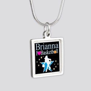 BASKETBALL PLAYER Silver Square Necklace