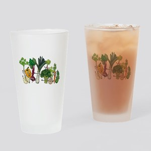 Funny cartoon vegetables Drinking Glass