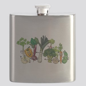 Funny cartoon vegetables Flask