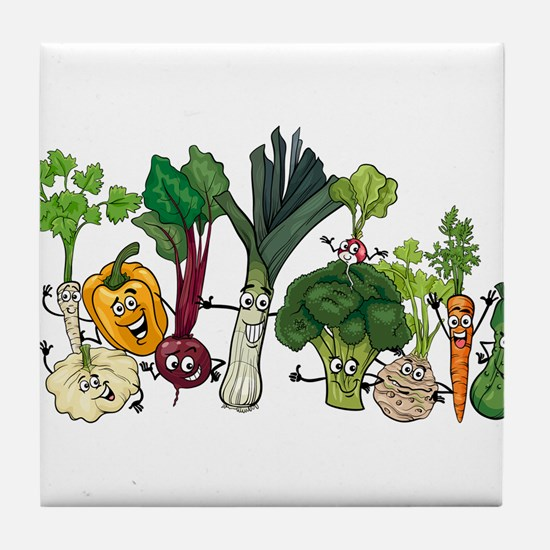 Funny cartoon vegetables Tile Coaster