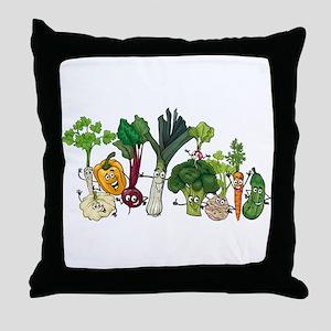 Funny cartoon vegetables Throw Pillow