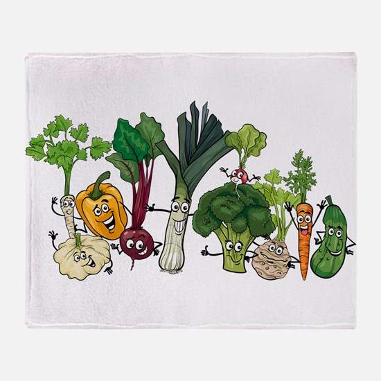 Funny cartoon vegetables Throw Blanket